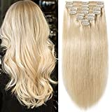 s-noilite 10'-22' Thick Double Weft 130-160g Grade 7A 100% Clip in Remy Human Hair Extensions Full Head 8 Piece (20'-150g #60 Platinum Blonde)