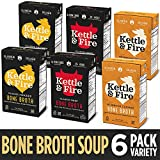 Whole 30 Approved Bone Broth 2 Beef, 2 Chicken, and 2 Mushroom Chicken Variety Pack by Kettle and Fire, Keto Diet, Paleo Friendly, Snack Foods, Gluten Free, with Collagen, 16.2 fl oz (Pack of 6) ...