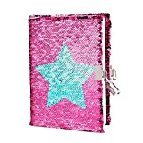 Sequin Journal Lock & Key Diary - Mermaid Reversible Sequin Notebook,A5 Notepad Travel Secret Lockable Diary Gift for Adults and Kids,Girl Birthday Present