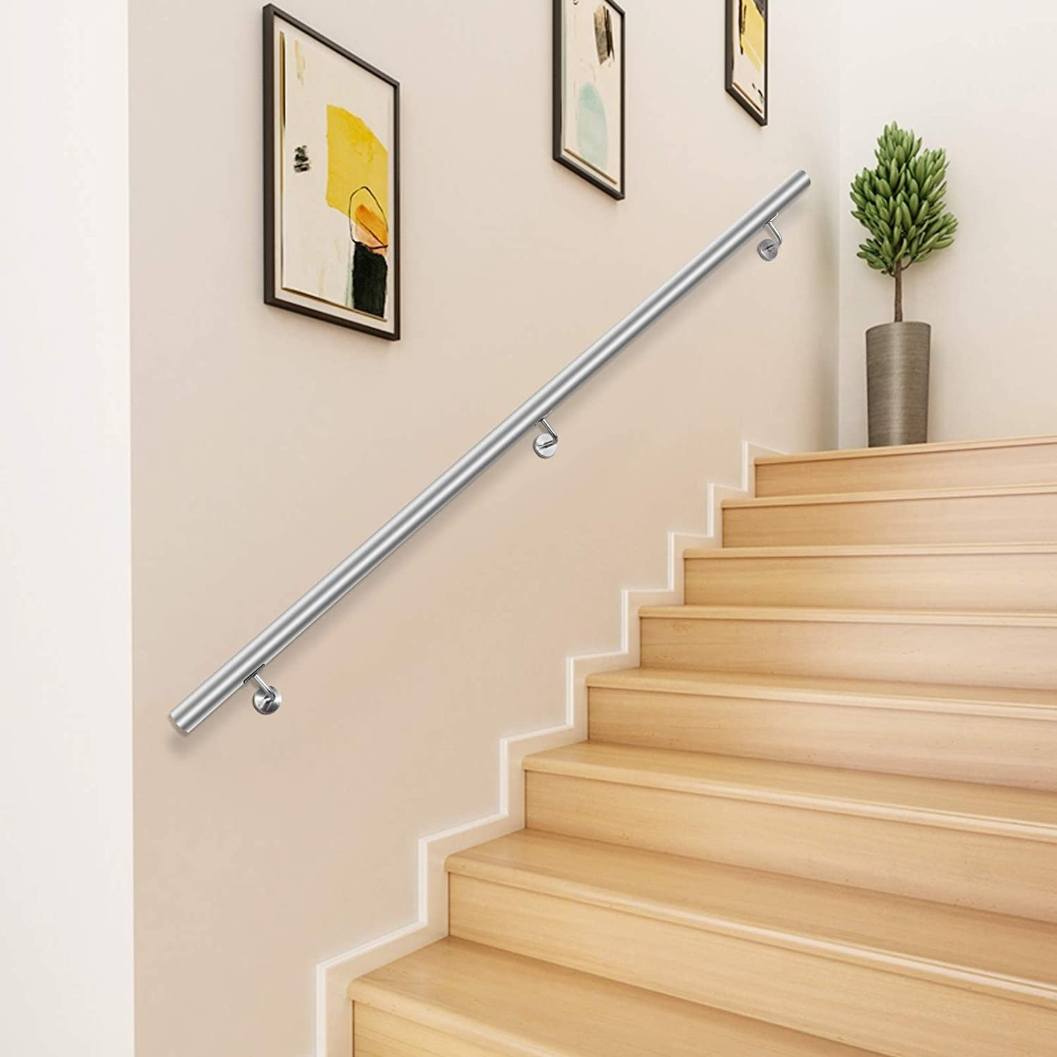 Happybuy 3 Feet Stair Handrail Stainless Steel Wall Stair Rail | Interior Stairs And Railings | Traditional | Living Room | Crystal | Rectangular Tube | Inside