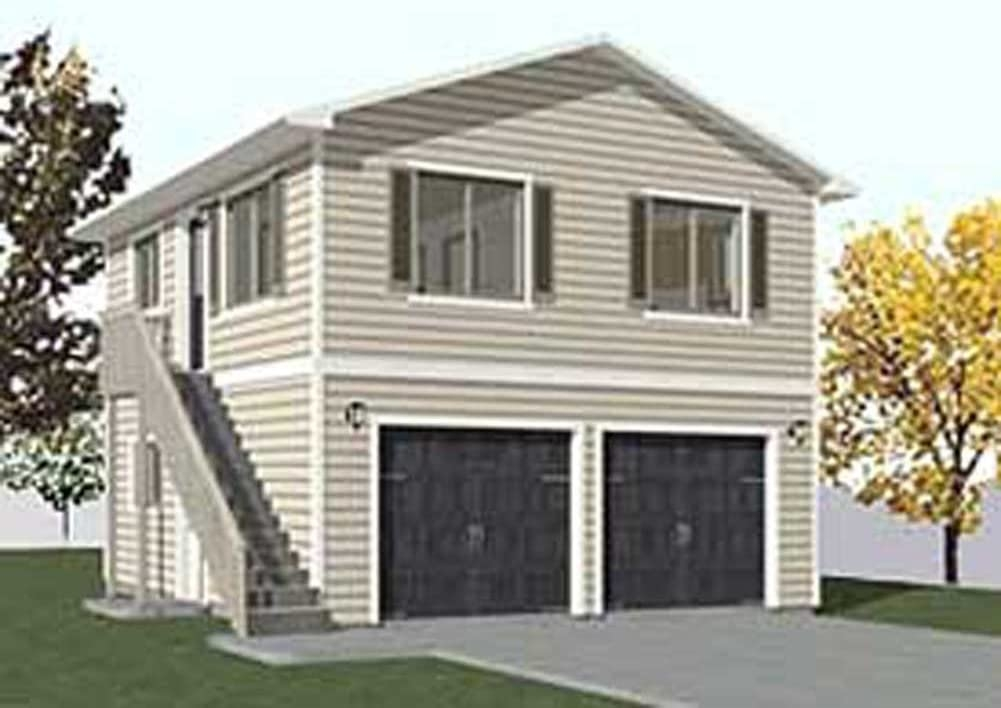 Garage Plans Two Car Two Story Garage With Apartment Outside   Home Design With Outside Stairs   Elevation   House Front Gate Wall   Double L Shaped Staircase   Outside View   Residential