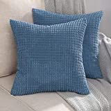 MIULEE Pack of 2 Decorative Throw Pillow Covers Soft Corduroy Solid Cushion Case Smoky Blue Pillow Cases for Couch Sofa Bedroom Car 16 x 16 Inch 40 x 40 cm