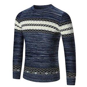 QBQCBB Men's Stitching Striped Sweater Pullover Slim Jumper Knitwear Outwear
