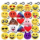 KUUQA 25 Pack Emoji-Pop Plush Pillow Keychain Emoji Party Supplies Christmas Gift for Kids Christmas Tree Hanging Decoration Easter Egg Filler