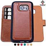 SHANSHUI Case Compatible with Samsung Galaxy S7edge, Detachable RFID Protecting Card Wallet(Brown-S7 Edge)
