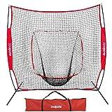 ZENY 7'×7' Baseball Softball Practice Net Hitting Batting Catching Pitching Training Net w/Carry Bag & Metal Bow Frame, Backstop Screen Equipment Training Aids