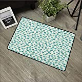 Bathroom mat W35 x L47 INCH Forest,Native Chinese Woodland Leaves from Ginkgo Trees Pastel Silhouettes, Teal Turquoise and Cream Natural dye printing to protect your baby's skin Non-slip Door Mat Carp