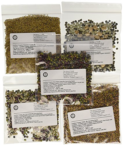 The Sprout House Assorted Organic Sprouting Seeds Mixes Sample, Pack of 12  - Permie PowerFoods