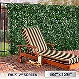 Windscreen4less Artificial Faux Ivy Leaf Decorative Fence Screen 58.5' x 136.5' Ivy Leaf Decorative Fence Screen