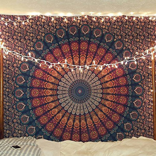 Indian hippie Bohemian Psychedelic Peacock Mandala Wall hanging Floral Gold Bedding Tapestry (Twin(54x72Inches)(140x185cms), Golden Blue)