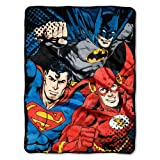 "Warner Brothers DC Comics Justice League, ""League Trio"" Micro Raschel Throw Blanket, 46"" x 60"", Multi Color"