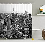 Ambesonne New York Shower Curtain, Panorama of Manhattan High Buildings of City Famous Monument USA Black and White Photo, Fabric Bathroom Decor Set with Hooks, Monochrome