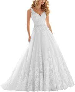 OWMAN Lace V Neck Wedding