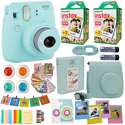 Fujifilm Instax Mini 9 Instant Camera Ice Blue + 2X Fuji Instax Film Twin Pack (40PK) + Blue Camera Case + Frames + Photo Album + 4 Color Filters More Top Accessories Bundle