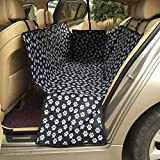 LULUME Pet Seat Cover - Car Seat Protector, Nonslip Waterproof Paw Printed Dog Seat Cover, Hammock with Side Zippers Flaps, Best for Cars Trucks Suvs