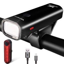 VICTGOAL USB Rechargeable Bicycle Light Set 400 Lumen Super Bright Headlight Front Lights