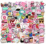 DOFE 110 PCS Pink Girls Cartoon Stickers,Laptop Waterproof Stickers,Perfect to Laptop Luggage Car Motorcycle Bicycle,DIY Decoration for Kids and Adults. (110PCS Pink)