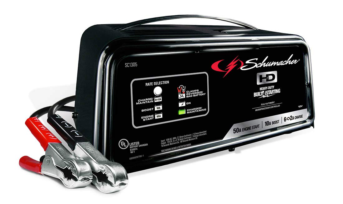 best ATV battery chargers Schumacher SC1305 12V Fully Automatic Battery Charger and 10/50A Engine Starter