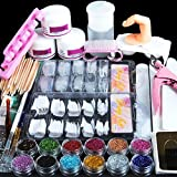 Coscelia Acrylic Powder Glitter Nail Art Kit False Nail Tips Nail Art Decoration Tools