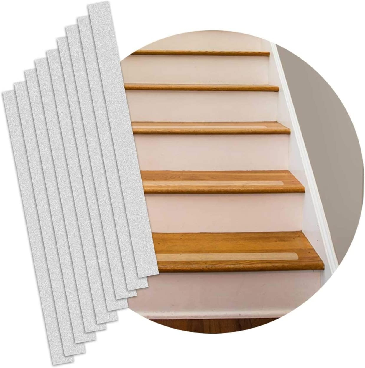 """Non Slip Stair Strips – 16 Pack – Pre Cut Step Strips – 2""""X24   Outdoor Tread For Steps   Pressure Treated   Wood   Deck Stairs   Non Slip   Granite"""