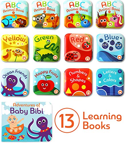 Baby Bath Books Mega Set (Pack of 13 Books) - Educational Waterproof Baby Bathtime Plastic Books for Bath Tub with Animals, Colors, Numbers and ABC Letters - Learning Toy Books for Babies and Toddlers