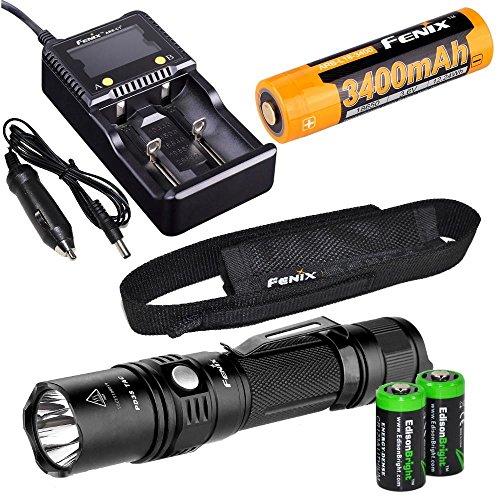 EdisonBright Fenix PD35 TAC 1000 Lumen CREE LED Tactical Flashlight with Fenix ARB-L2S 18650 Li-ion Rechargeable Battery, Fenix Smart Charger and 2 X CR123A Lithium Batteries Bundle