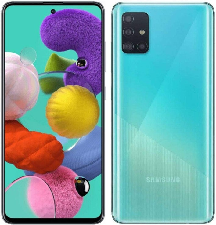 "Samsung Galaxy A51 (128GB, 4GB) 6.5"", 48MP Quad Camera, Dual SIM GSM Unlocked A515F/DS- Global 4G LTE International Model - Prism Crush Blue"