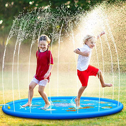 OYE HOYE Todler Water Sprinkler Splash Pad 68' Colorful Splash Play Mat Inflatable Water Toys Kids for Yard, Outdoor Party, Swimming Pool for Children from 18 Months +