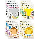 Kicko Make-a-Zoo Animal Sticker Sheets -12 Pack - for Kids, Arts, Parties, Birthdays, Party Favors, Gifts, Crafts, School, Daycare, Etc.