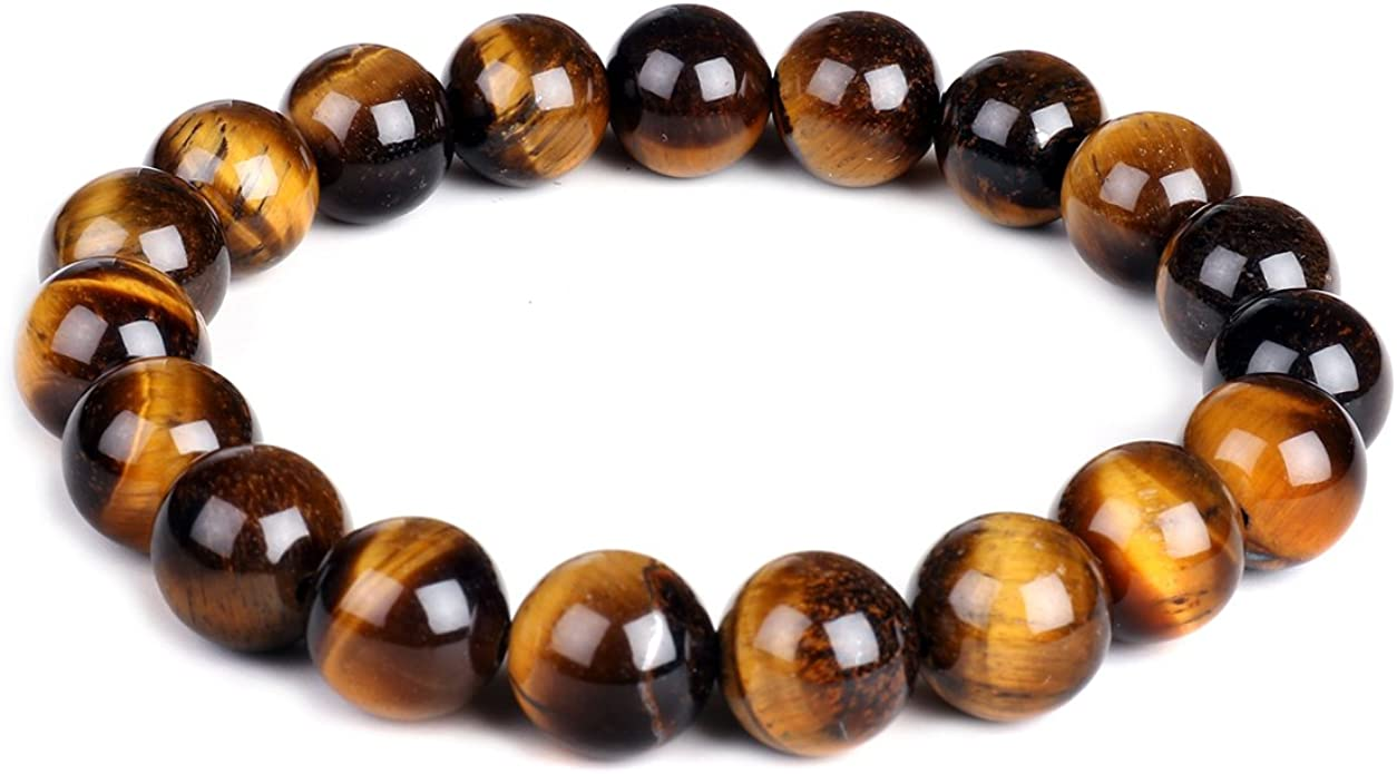 Amazon Com 10mm Natural Tiger Eye Bracelet Elastic Yoga Gemstones Healing Energy Men Women Stretch Bracelet Jewelry