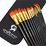 Craftamo Paint Brushes. Use as Watercolor Brushes, Face Paint Brushes, and Acrylic Paint Brushes. 15 Art Paint Brushes with Paint Brush Case.