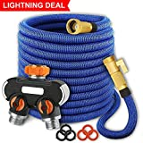 maswater Garden Hose 50FT Expandable Water Hose - Upgraded 2019 2-Way Splitter with Double Latex Core, 3/4' Solid Brass Connectors,Extra Strength Fabric Flexible Expanding (Blue)