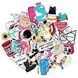 Stickers for Water bottles,Waterproof,Aesthetic,Trendy Sticker for Teens,Girls,Perfect for Waterbottle,Laptop,Phone,Travel,Car Skateboard Motorcycle Bicycle Luggage Guitar | Big 45-Pack | Extra Durabl