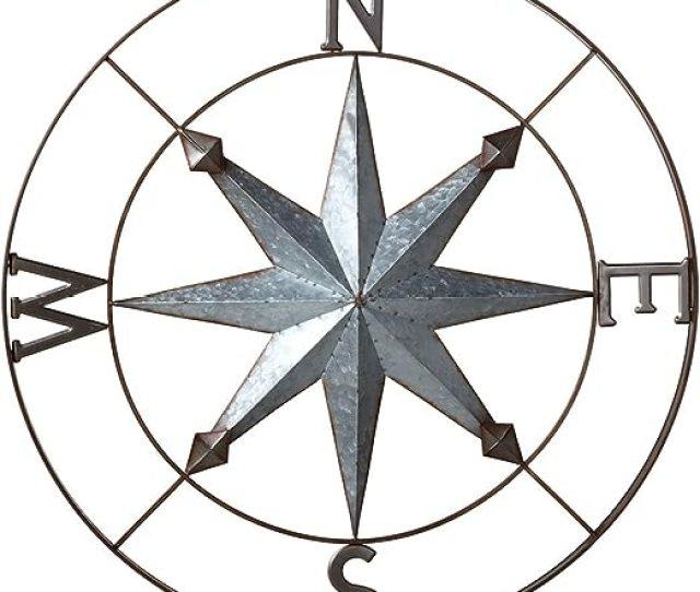 Amazon Com Midwest Cbk Galvanized Metal Wall Art Rose Compass