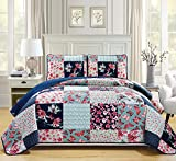 Mk Collection 3pc Bedspread coverlet quilted Flower Butterfly Off White Navy Blue Teal green Red Full/Queen Over Size 106'x 95' #Stella New
