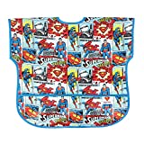 Bumkins DC Comics Superman Junior Bib / Short Sleeve Toddler Bib / Smock 1-3 Years, Waterproof, Washable, Stain and Odor Resistant - Comic