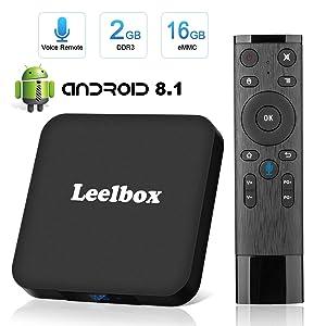 Leelbox TV Box Android 8.1【2GB+16GB】 Q2 Minis 4K × 2K UHD H.265 / HDMI / USB × 2 / Lecteur multimédia sans Fil / Set Top Box Android avec Commande vocale (2GB +16GB)