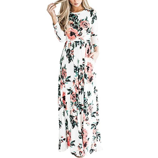 HOOYON Women's Casual Floral Printed Long Maxi Dress with Pockets(S-5XL),White,X-Large