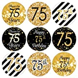DISTINCTIVS Black and Gold 75th Birthday Party Favor Stickers - 180 Labels