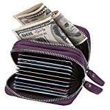 HDE Women RFID Zip Around Wallet Security Travel Protection Credit Card Holder (Purple Leather)