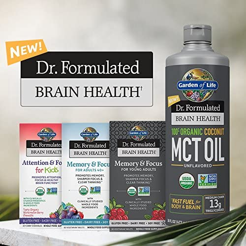 Garden of Life Dr. Formulated Brain Health 100% Organic Coconut MCT Oil 16 fl oz Unflavored, 13g MCTs, Keto & Paleo Diet Friendly Body & Brain Fuel, Certified Non-GMO Vegan & Gluten Free, Hexane-Free 10