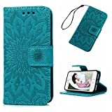MOLLYCOOCLE iPhone SE 5S 5 Case, Wallet Case Embossed Sunflower Blue PU Leather Kickstand Magnetic Flip Folio Card Holders Slots Hand Strap Cover Case for iPhone SE 5S S