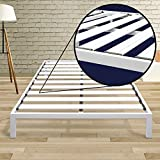 Mellow Rocky Base C (Full) - Modern Metal Platform Bed/ Heavy Duty Steel Slats/ No Box Spring Needed/ Quick and Easy Assembly, White