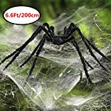 Bosidu 6.6Ft Giant Spider for Halloween Party Decorations,Scary Spider Props for Halloween Outdoor Yard Decor