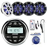 Kicker KMC2 Marine Boat Yacht Gauge Style AM/FM Stereo Receiver Bundle Combo With 4x 6.5' Multi Color LED Audio Speakers W/ Light Remote Control + Enrock 45' Antenna + 50 Feet 14g Speaker Wire