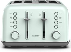 BUYDEEM DT-6B83 4-Slice Toaster, Extra Wide Slots, Retro Stainless Steel with High Lift Lever, Bagel and Muffin Function, Removal Crumb Tray