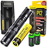 NITECORE P12 1000 Lumens CREE LED tactical flashlight w/ Niteocre UM10 USB charger, Nitecore NL186 2600mAh rechargeable 18650 Battery and 2 X EdisonBright CR123A Lithium Batteries Bundle