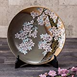 Jpanese traditional ceramic Kutani ware. Decorative Plate with a stand. Cherry blossom. With wooden box. ktn-K5-1385