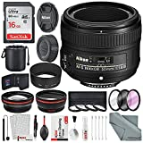 Nikon AF-S NIKKOR 50mm f/1.8G Lens W/Platinum Accessory Bundle, 58mm Wide-Angle & Telephoto Lens + Variety of Filters, 16 GB SD Card + Xpix Professional Cleaning Kit