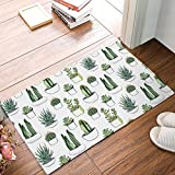 32 x 20 Inch Green Cactus Flower Succulents Aloe Door Mats Kitchen Floor Bath Entrance Rug Mat Absorbent Indoor Bathroom Decor Doormats Rubber Non Slip